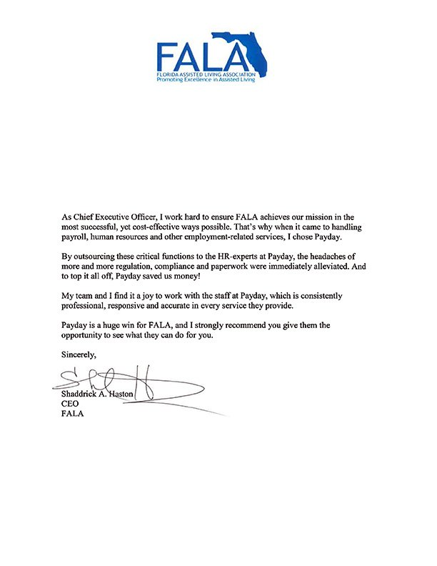 FALA recommendation letter
